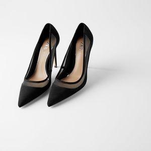 Zara black heeled shoe. Pointed toes. Mesh